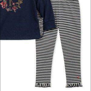Nautica Matching Sets - Nautica Navy Logo Tee/Stripe Ruffle-Hem Leggings